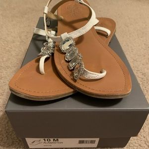 Vince Camuto white gem sandals